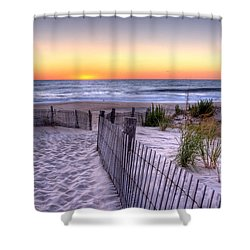 Tower Beach Sunrise Shower Curtain