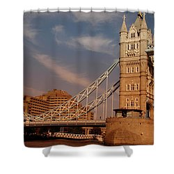 Tower Bridge Sunset Shower Curtain by Jonah  Anderson