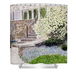 Shower Curtain featuring the painting Tower Hill Blues by Carol Flagg
