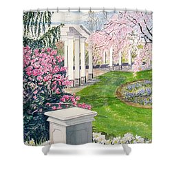 Shower Curtain featuring the painting Tower Hill by Carol Flagg