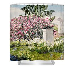 Shower Curtain featuring the painting Tower Hill Center by Carol Flagg