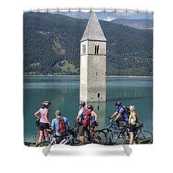 Shower Curtain featuring the photograph Tower In The Lake by Travel Pics