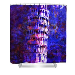 Tower Of Pisa By Moonlight Shower Curtain by Jack Zulli