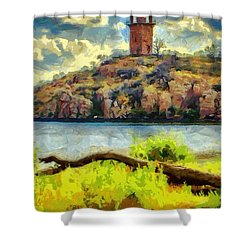 Tower On The Bluff Shower Curtain by Jeffrey Kolker