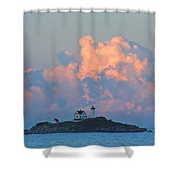 Towering Clouds Over Nubble Lighthouse York Maine Shower Curtain