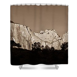 Towers Of The Virgin Shower Curtain by Adam Romanowicz