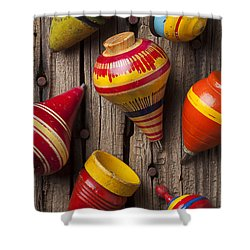 Toy Tops Shower Curtain by Garry Gay