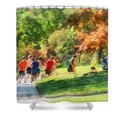 Track Team Shower Curtain by Susan Savad