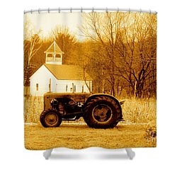 Tractor In The Field Shower Curtain by Desiree Paquette
