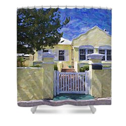 Shower Curtain featuring the photograph Traditional Bermuda Home by Verena Matthew