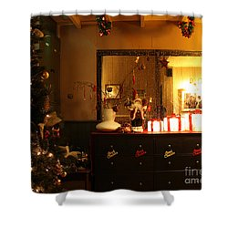 Traditional English Christmas Shower Curtain