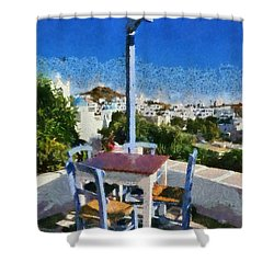 Traditional Tavern In Ios Town Shower Curtain