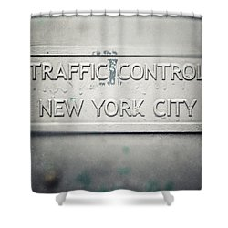 Traffic Control Shower Curtain by Lisa Russo