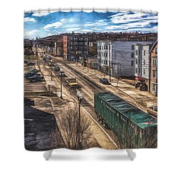 Traffic On Lincoln Street Shower Curtain by Bob Orsillo