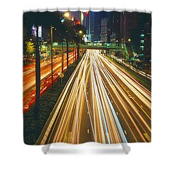 Traffic On The Road, Hong Kong, China Shower Curtain by Panoramic Images