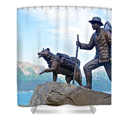 Trail Blazers Sculpture For 2012 Iditarod Beginning At Mile 0 In Seward-ak Shower Curtain