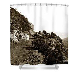 Shower Curtain featuring the photograph Trail On Mt. Tamalpais Marin Co California Circa 1902  by California Views Mr Pat Hathaway Archives