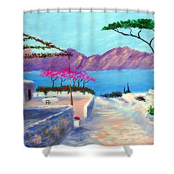 Trails Of Greece Shower Curtain by Larry Cirigliano