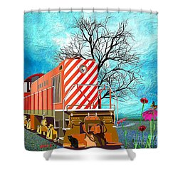 Train - All Aboard - Transportation Shower Curtain by Liane Wright