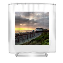 Train And Sunset In San Clemente Shower Curtain