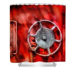 Train - Car - The Wheel Shower Curtain by Mike Savad