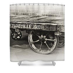 Train Depot Baggage Cart In High Key B/w Shower Curtain