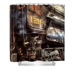 Train - Engine - 1218 - Norfolk Western - Class A - 1218 Shower Curtain by Mike Savad