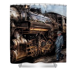 Train - Engine -  Now Boarding Shower Curtain
