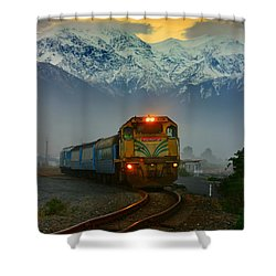 Train In New Zealand Shower Curtain by Amanda Stadther