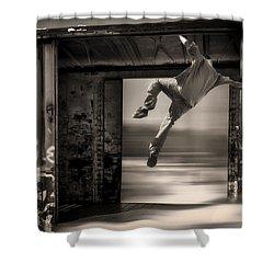 Train Jumping Shower Curtain by Bob Orsillo