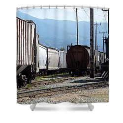 Train Shunting Station Shower Curtain by Nicki Bennett