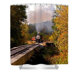 Train Through The Valley Shower Curtain by Robert Frederick