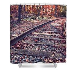 Train Tracks Shower Curtain by Edward Fielding