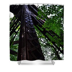 Train Trestle In The Woods Shower Curtain