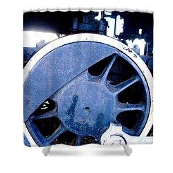 Train Wheel Shower Curtain by Thomas Marchessault