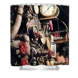 Trains - Inside Cab Of Steam Locomotive Shower Curtain by Susan Savad