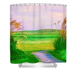 Tralee Ireland Water Color Effect Shower Curtain