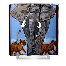 Shower Curtain featuring the painting Trampling Elephant by Nora Shepley