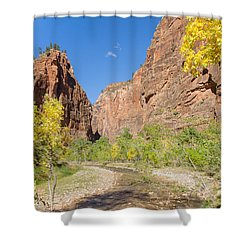Shower Curtain featuring the photograph Tranquil Canyon Scene by John M Bailey