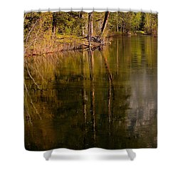 Tranquil Merced River Shower Curtain by Duncan Selby