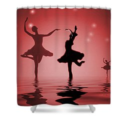 Tranquil Persuasion In Red Shower Curtain by Joyce Dickens