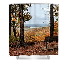 Shower Curtain featuring the photograph Tranquility Bench In Great Smoky Mountains by Debbie Green
