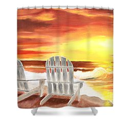 Shower Curtain featuring the painting Tranquility by Bev Conover