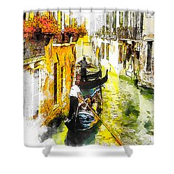 Shower Curtain featuring the painting Tranquillity by Greg Collins