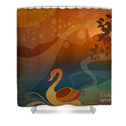 Tranquility Sunset Shower Curtain by Bedros Awak
