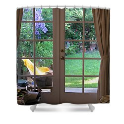 Tranquility Through French Doors Shower Curtain by Bev Conover