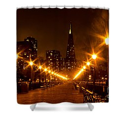 Transamerica Pyramid From Pier Shower Curtain by Suzanne Luft