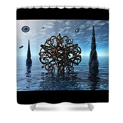 Shower Curtain featuring the digital art Transdifferentiation by Manny Lorenzo