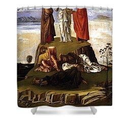 Transfiguration Of Christ On Mount Tabor 1455 Giovanni Bellini Shower Curtain by Karon Melillo DeVega