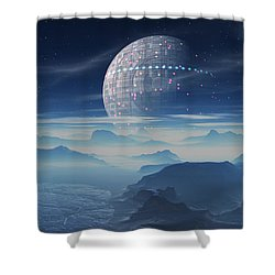 Shower Curtain featuring the digital art Tranus Alien Planet With Satellite by Judi Suni Hall